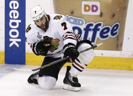 Seabrook dropped to the ice to celebrate his goal.
